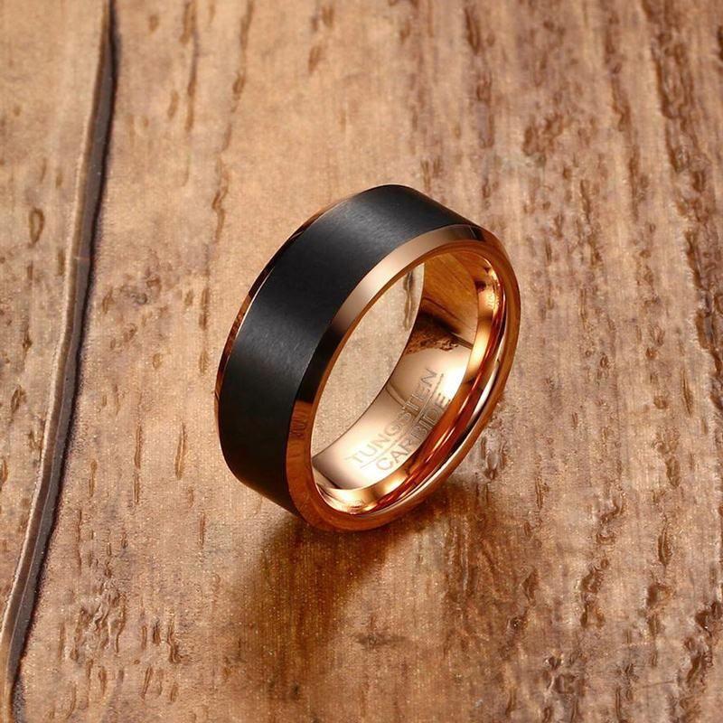 Mode hommes bague en carbure de tungstène hommes noir mat brossé bande de mariage Rose couleur or biseauté bord bague de fiançailles bijoux