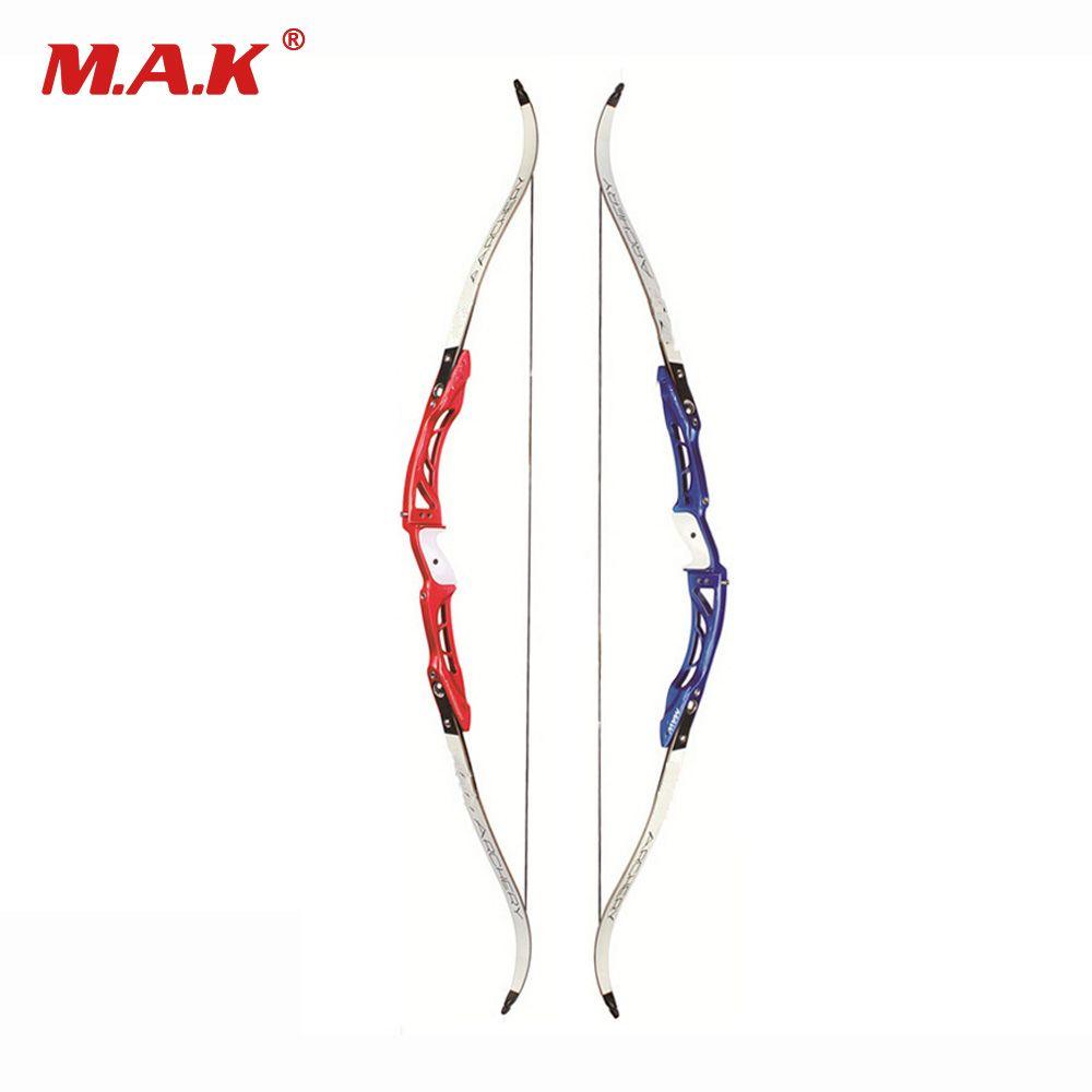 F165 Recurve Bogen Länge 68 Zoll 18-32 £ in Rot/Blau Aluminiumlegierung Griff und Ahorn Gliedmaßen für Bogenschießen Jagd Schießen