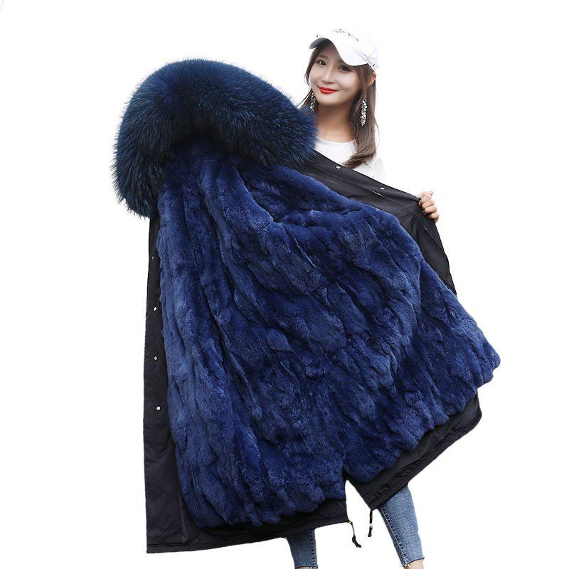2018 Women Long Fur Coat Parkas Winter Jacket Woman parka Rex Rabbit Fur Inner Tank Extra Large YH182