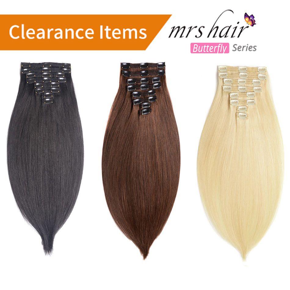 MRSHAIR Clip En extensions de cheveux humains Droite 8 pc Ensemble Machine Fait Remy Clip Ins Plein Cheveux Brésiliens Cheveux Blonds 14 16 18 20 22