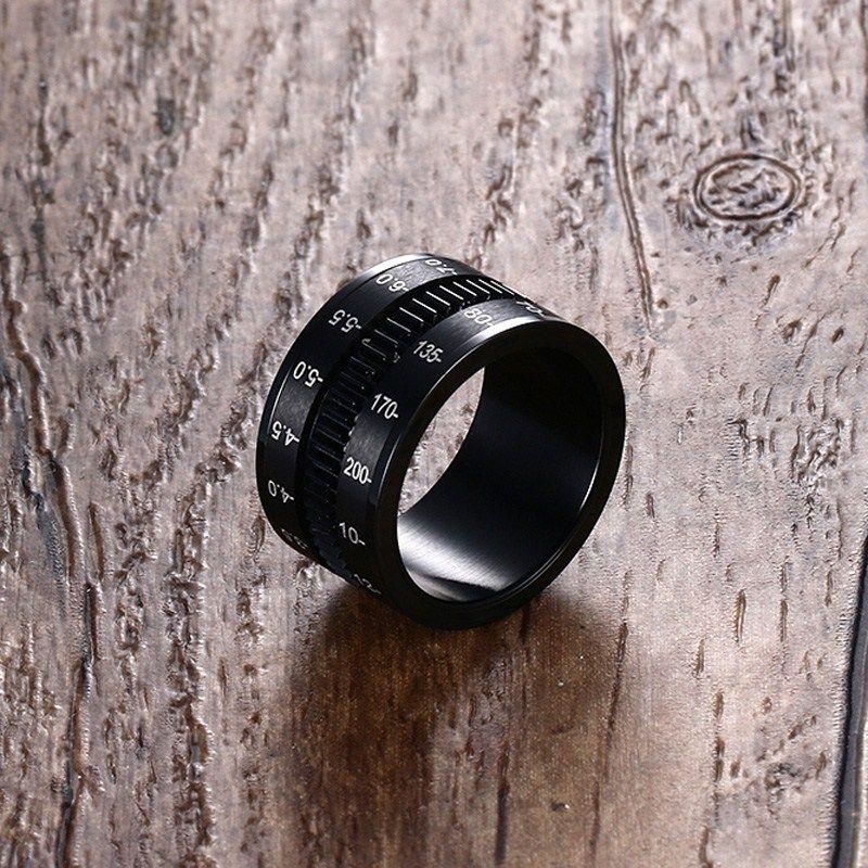 Hommes Bagues en Acier Inoxydable Noir REFLEX Téléobjectif Spinner Anneau Focus Lens Bande Mâle Bijoux Photographes Accessoires