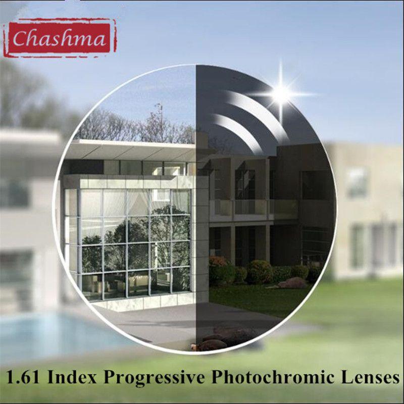 Surface asphérique Chashma 1.61 Index intérieur forme libre Progressive verres photochromiques gris et brun vérifocaux verres colorés