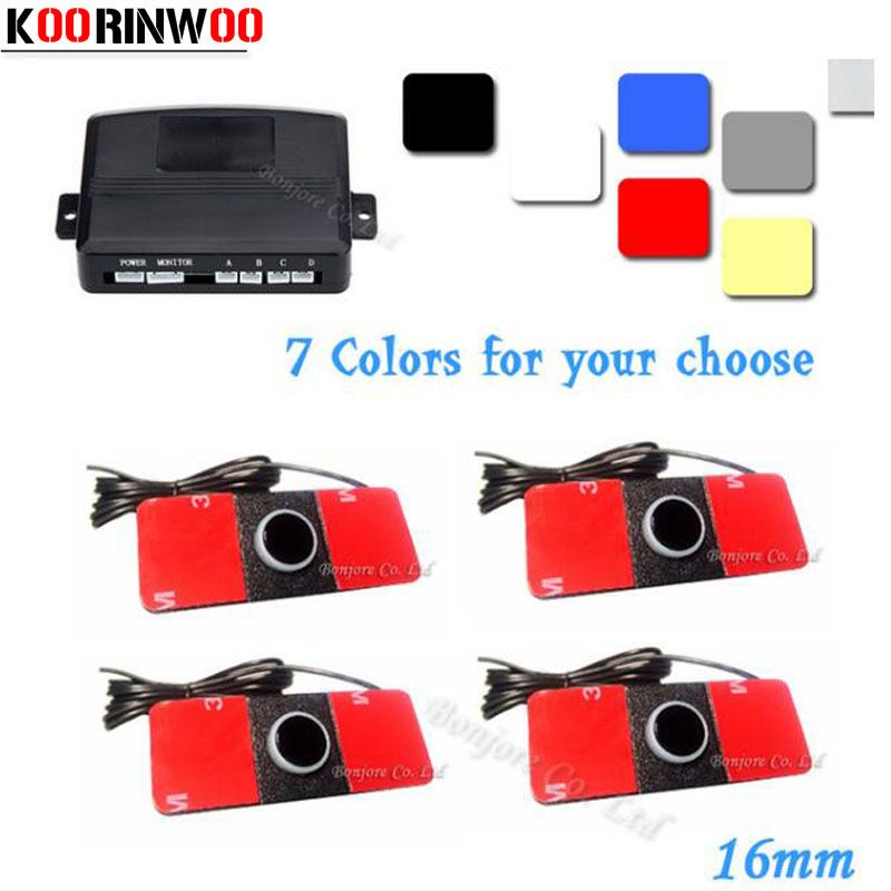 4 Sensors Buzzer 16.5mm Car Parking Sensor Kit Reverse Backup Radar Sound Alert Indicator Probe System Silver/White/Black/Grey