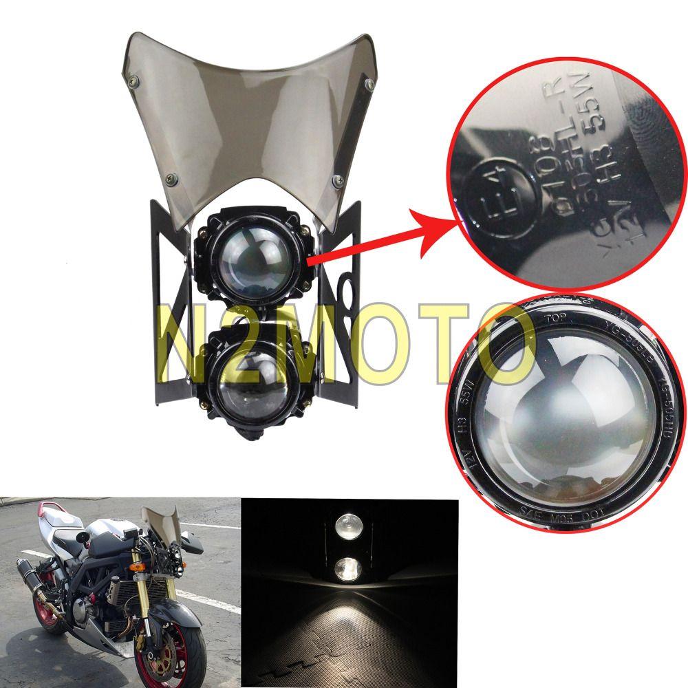 Streetfighter Projektor Motorrad E4 E-Mark Scheinwerfer Twin Kopf licht Rauch Windschutz für Kawasaki KTM Dual Sport Dirt Bike