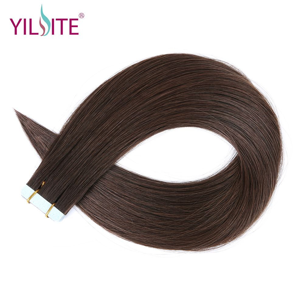 Yilite <font><b>16inch</b></font> Double Drawn Full Cuticle Darkest Brown Remy Hair, European Human Hair Tape in Extensions Last Over One Year