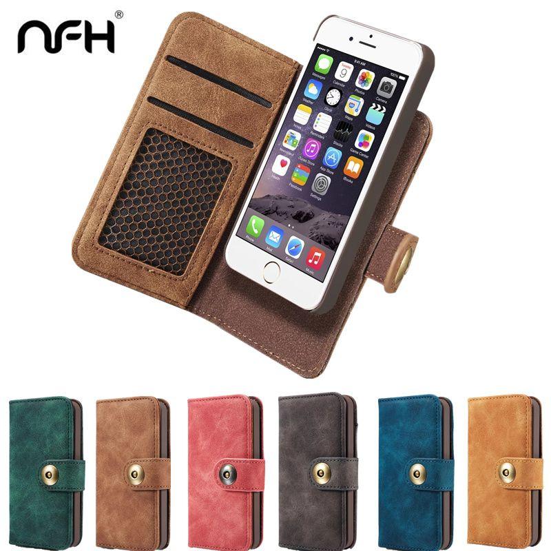 NFH Classique Marque Housse En Cuir flip pour iPhone 6 6 S Plus 7 7 Plus Luxe Wallet Case Cover Sur 6 S 7 4.7