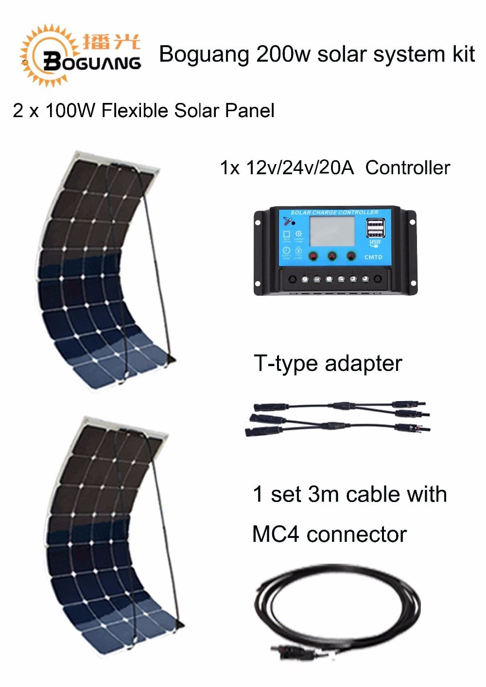 Flexible Solar panel 2pcs 100W cable 12V or 24V 20A solar controller USB output house 200W Kits DIY System solar power station