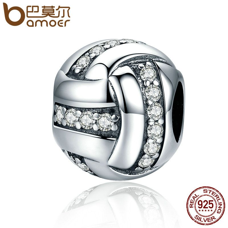 BAMOER High Quality Genuine 925 Sterling Silver Glittering Ribbon Ball Shape Beads fit Charm Bracelets for Women Jewelry SCC302