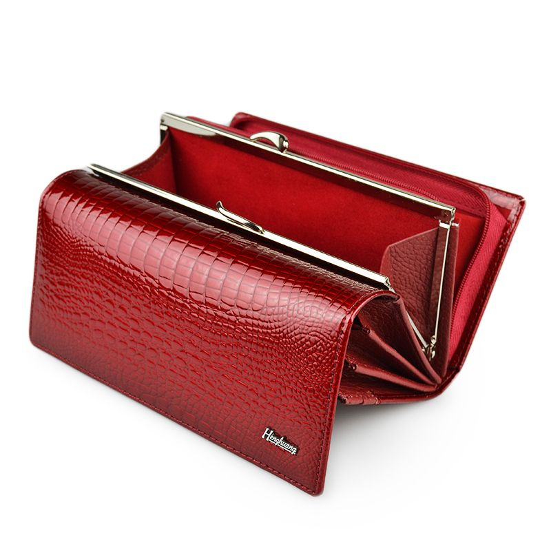 HH Genuine Leather Women Wallets Alligator Long Hasp Zipper Wallet <font><b>Ladies</b></font> Clutch Bag Purse 2018 New Female Luxury Purses