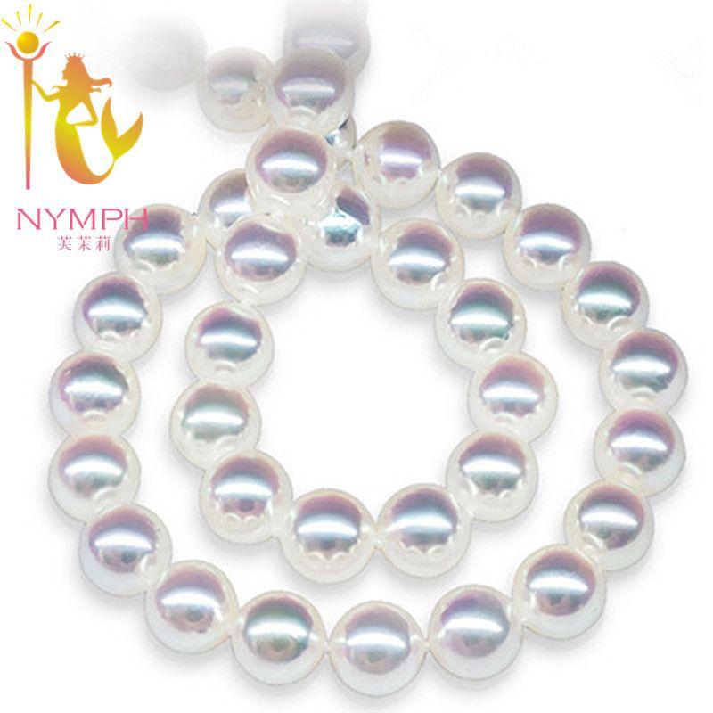 NYMPH Perle Schmuck Natürliche Süßwasser Perlenkette 8-9mm Runde Kragen Perlen Stein Geschenk Mit Box Hochzeit für Frauen