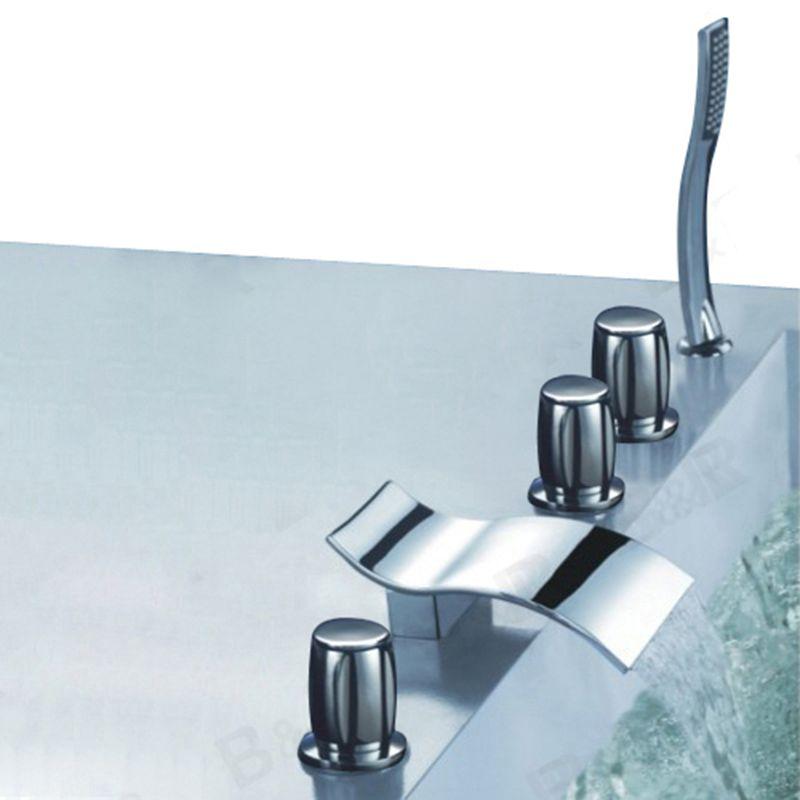 Manufacturer BAKALA Luxury waterfall bathtub faucet bathroom bath tub mixer taps with hand shower head 5 pieces set LT-204
