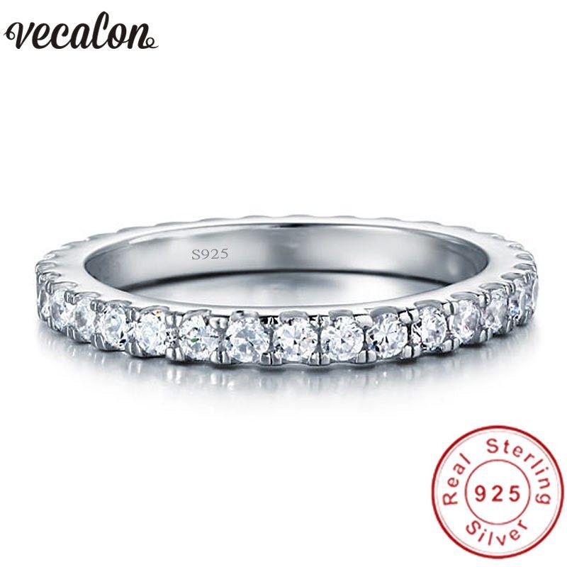 Vecalon Female Classic Wedding Band Ring 100% Soild 925 Sterling silber Kreis 5A Zirkon Cz verlobungsringe für frauen männer geschenk