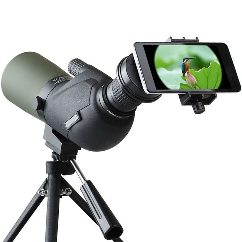 12-45X HD Travel Monocular Lens Waterproof Prism Spotting Scope Bird Watching Telescope Optic Zoom Lens with Tripod for Phones