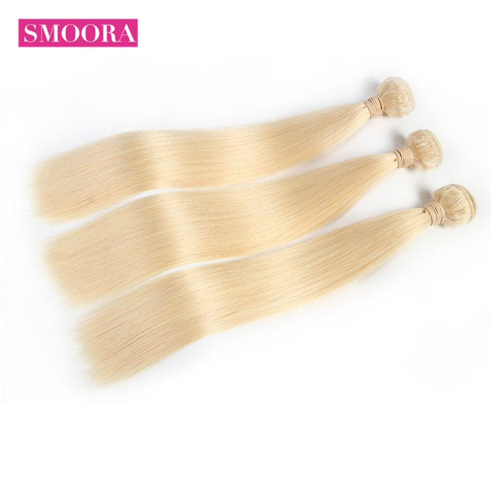 Smoora Hair Brazilian Remy Straight 613 Blonde Human Hair Bundles Mix Length 3 4 Pcs /Lot 10-30 inch 613 Blonde Hair Extensions