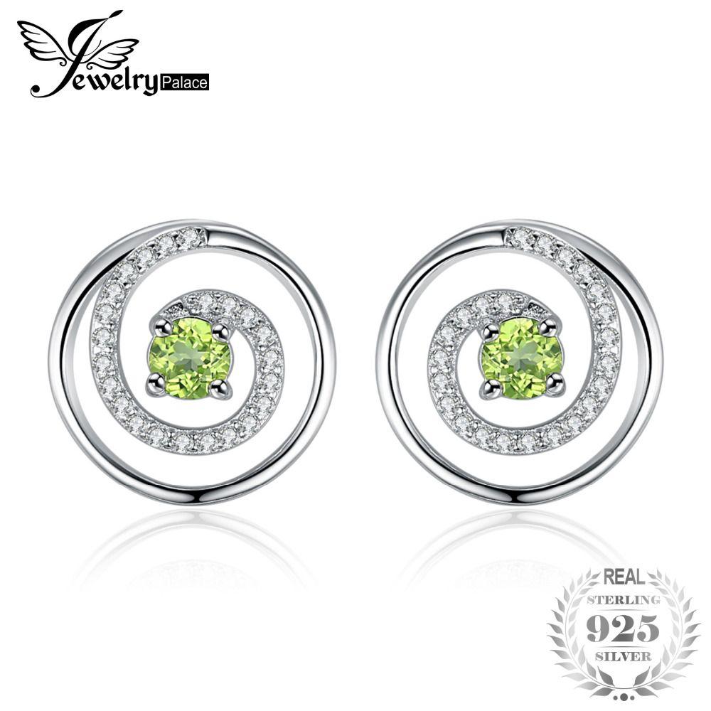 JewelryPalace Rund Swirl Natürliche Peridot Runde Ohrringe Echte 925 Sterling Silber Charme Edlen Schmuck Für Frauen