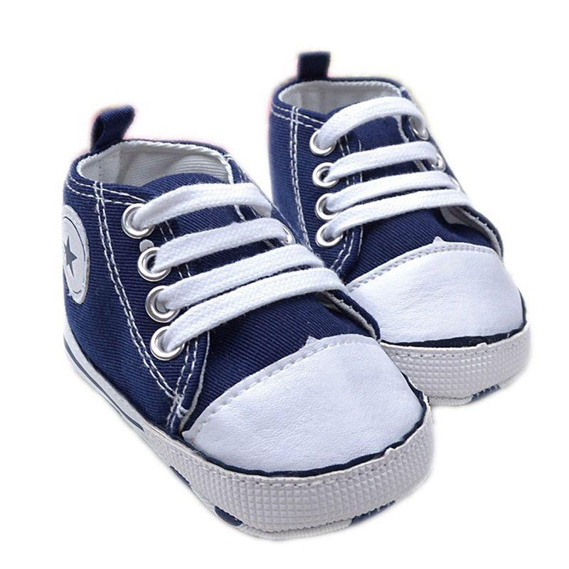 Bebé recién nacido Primer Caminante Zapatos de Lona Estrella Diseños Sólidos únicos zapatos Ocasionales Suaves Toddle Zapatos de Bebé 0-2 T