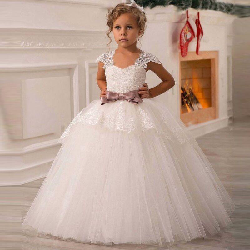 Blanc fleur filles robes pour mariage Tulle dentelle longue fille robe fête noël robe enfants princesse Costume pour enfants 12T