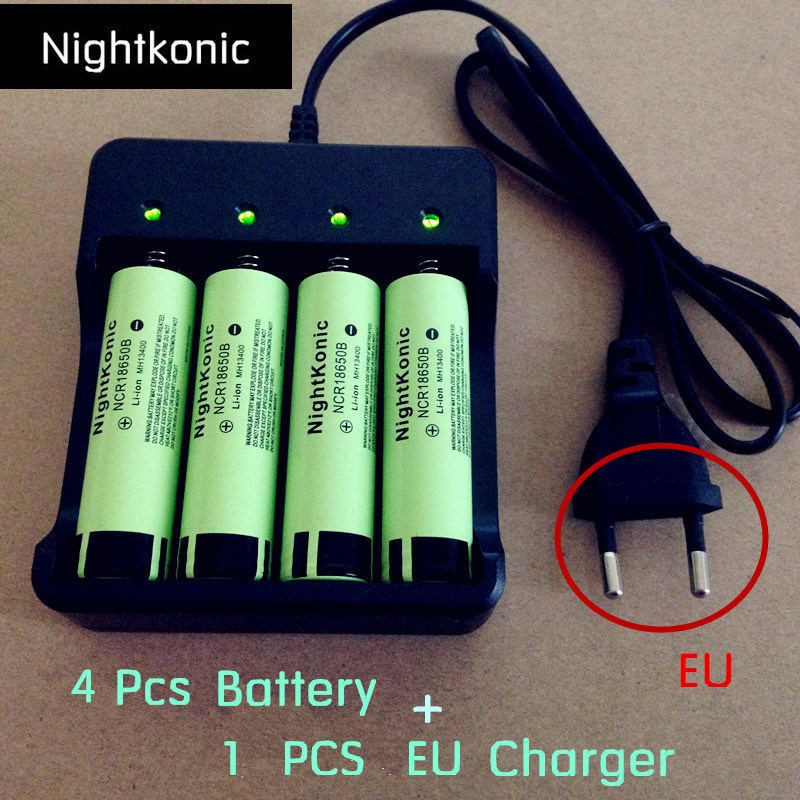 Original Nightkonic 4 Pieces 18650 battery + 1 Piece EU 2/4 slot Charger <font><b>3.7V</b></font> Li-ion Rechargeable Battery Flat top 18650NB