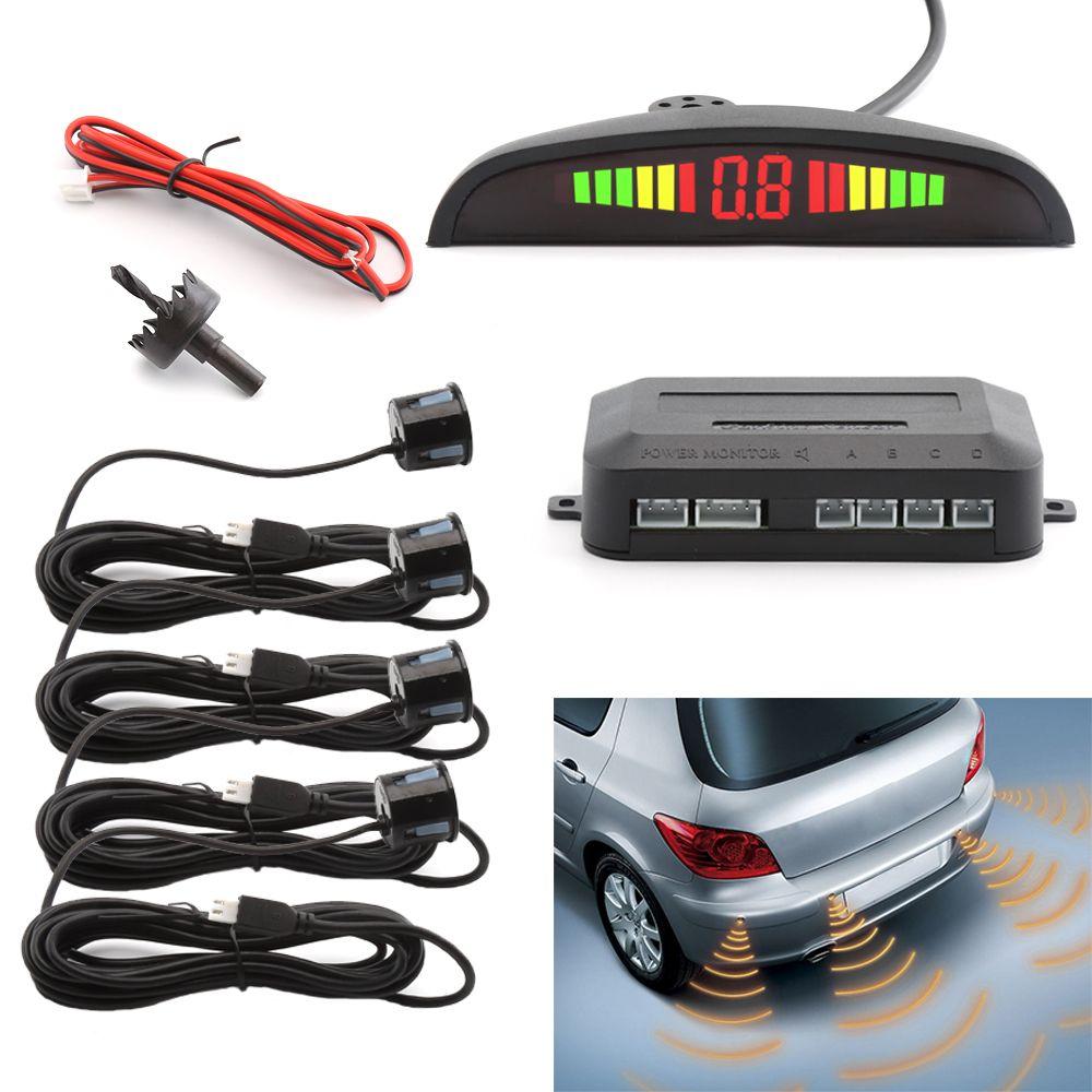 4 Sensors Buzzer Car Parking Sensor Kit Reverse <font><b>Backup</b></font> Radar Sound Alert Indicator Probe System 12V Auto Parktronic