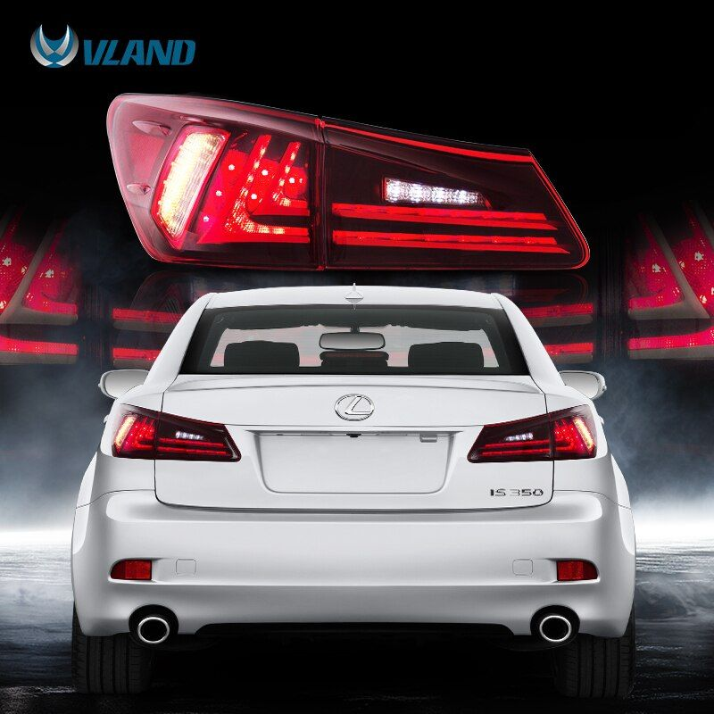 VLAND Fit Lexus IS250/IS300/IS350 2006-2012 Tail light Led Design Red Lens Taillight Assembly Rear Lamp