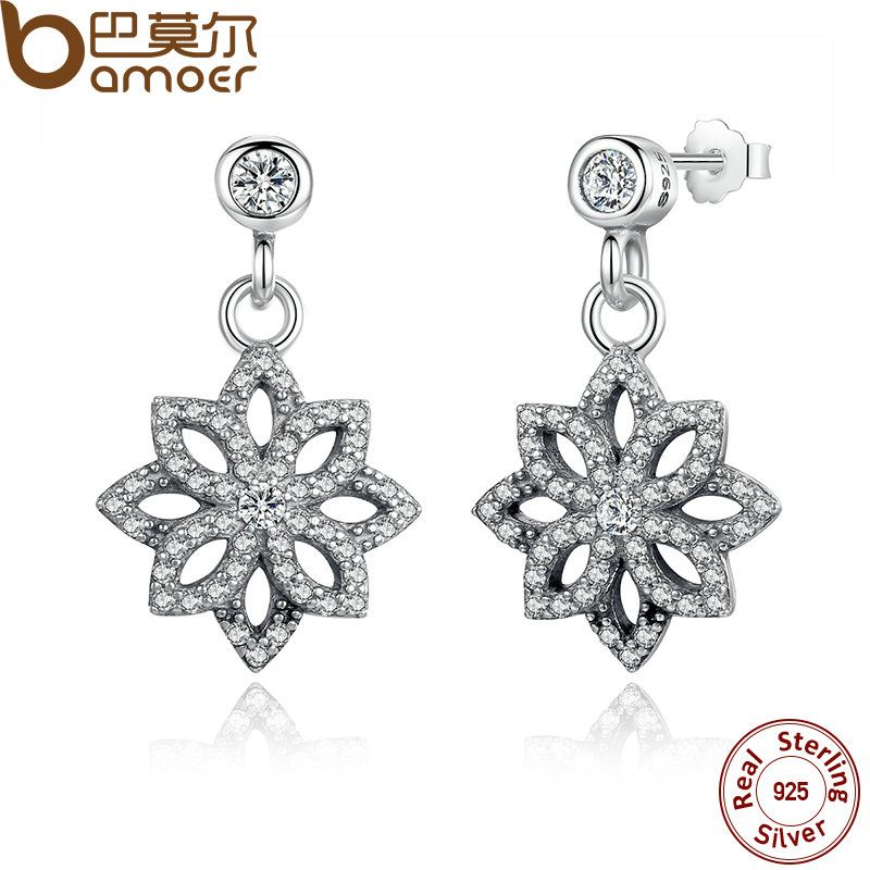 BAMOER Vintage 925 Sterling Silver Lace Botanique, Clear CZ Floral Motif Drop Earrings for Women Jewelry PAS432