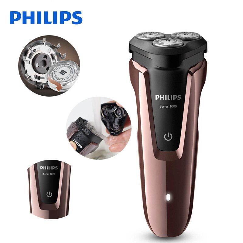 100% Original Philips Electric Shaver S1060 Rotary Rechargeable Washable For Men's Electric Razor With Three Floating Heads