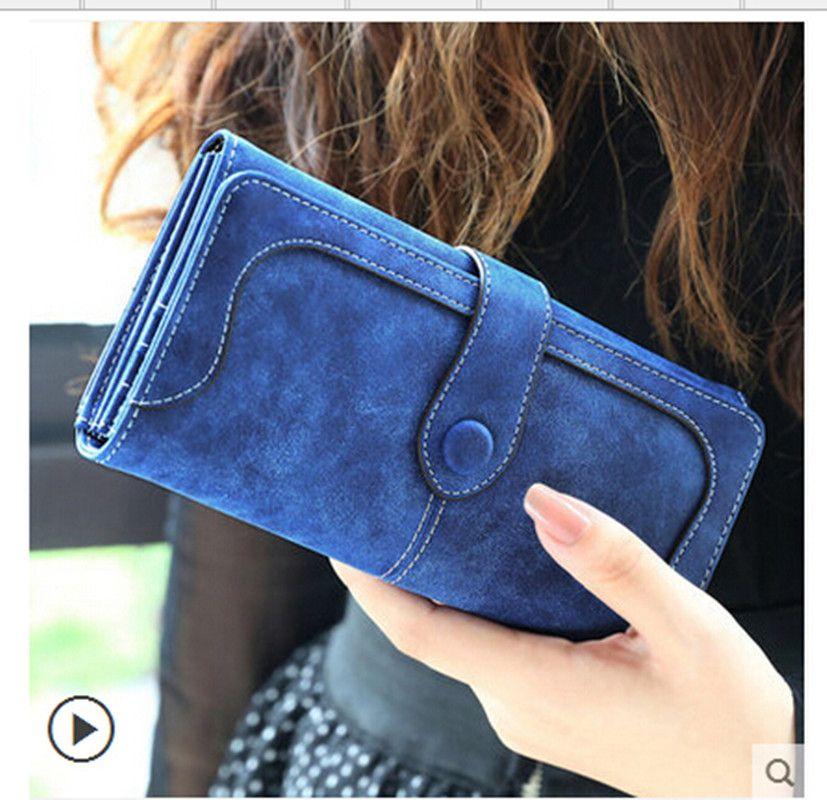2019 Mode Rétro Mat Couture portefeuille en cuir Femmes pochette longue à porte-monnaie Femmes décontracté Hasp Dollar Prix Portefeuille Sac À Main carteira