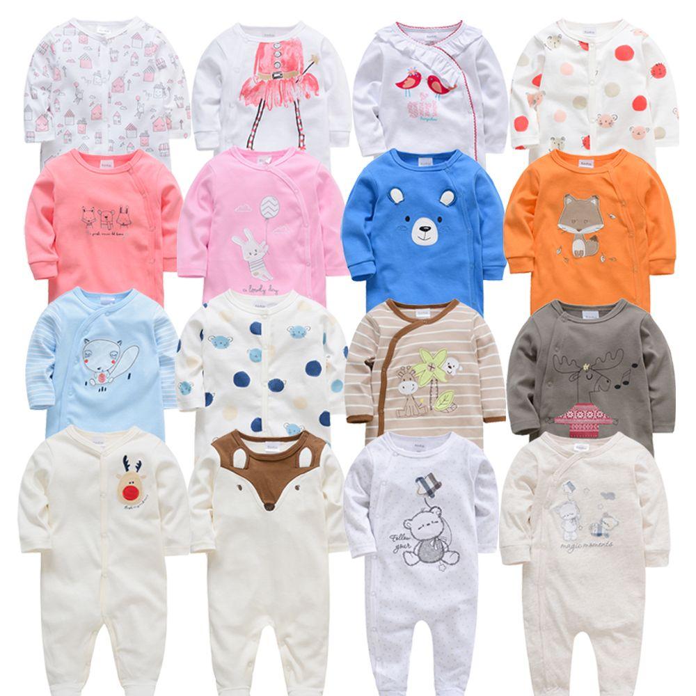 2019 3 4 pcs/lot été bébé garçon roupa de bebes nouveau-né combinaison manches longues coton pyjamas 0-12 mois barboteuses bébé vêtements
