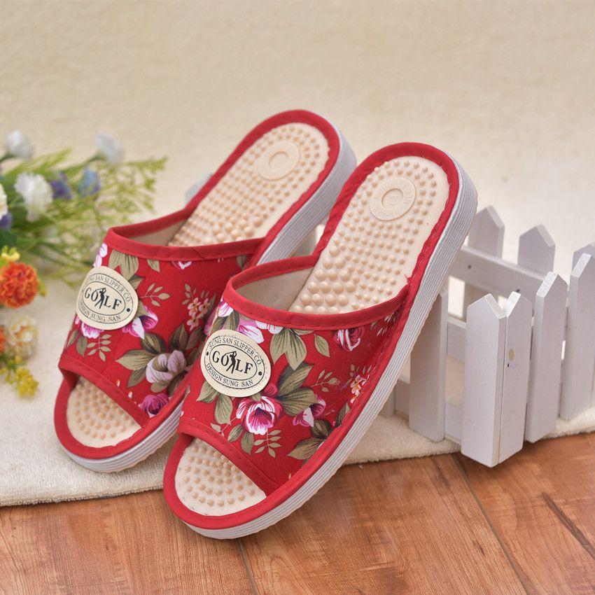 2018 Toute Personne Soins Santé Poussoir D'intérieur Maison Acupressure Massage des Pieds Pantoufles de Femmes Sandales Occasionnels Femmes