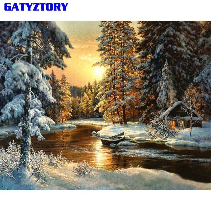 GATYZTORY Village Snow DIY Painting By Numbers Canvas Painitng Home Wall Art Picture Coloring By Numbers For Home Decor 40x50cm