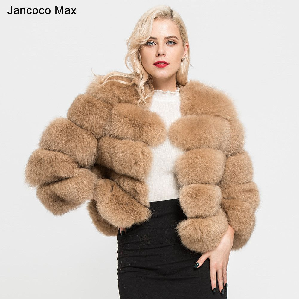 Jancoco Max 2018 Women's Coats Real Natural Fox Fur 5 Rows Coat High Quality Outwear Winter Thick Warm Fashion Crop Jacket S1796