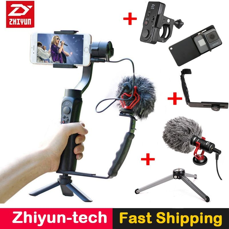 Zhiyun Smooth Q 3-Axis Gimbal Stabilizer with Boya BY-MM1 microphone Kit Vlogging following shoot for iPhone X Gopro Hero SJCAM