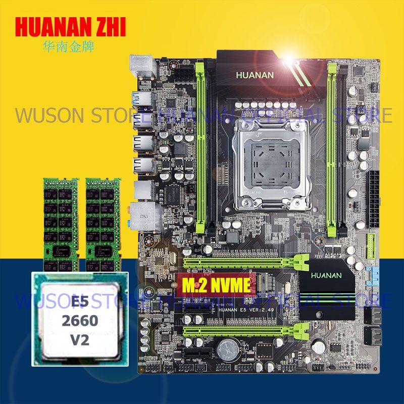 Brand HUANAN ZHI X79 motherboard CPU RAM set X79 LGA2011 motherboard Xeon E5 2660 V2 SR1AB 2.2GHz RAM 8G(2*4G) DDR3 1333 RECC