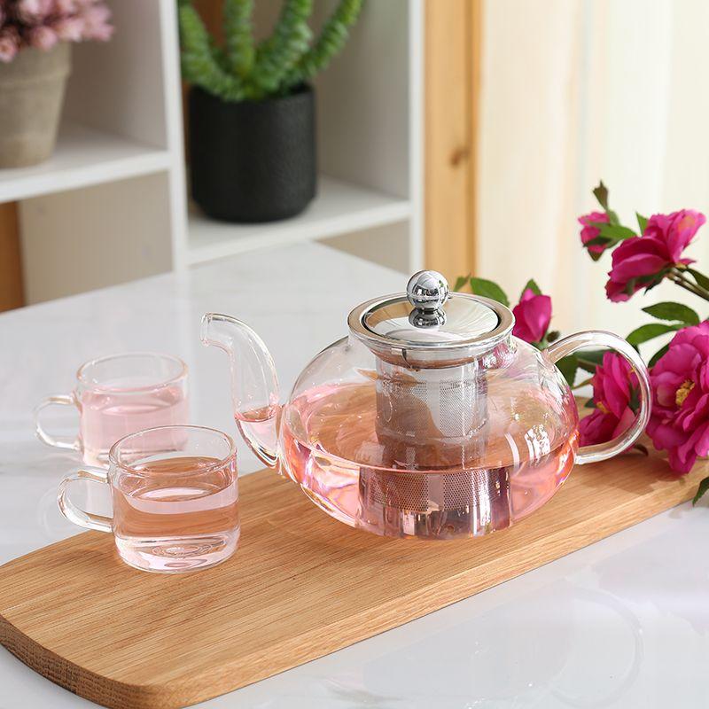600 ML 800 ML en verre Borosilicate théière thé en acier inoxydable Filte infuseur couvercle moderne théière outil bouilloire Terbal Teaware