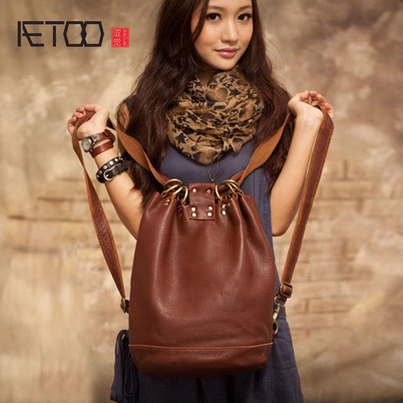AETOO New original handmade leather buckets leather leather shoulder bag leisure Korean version of the trip backpack female bag