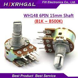5 шт. WH148 B1K B2K B5K B10K B20K B50K B100K B500K 6Pin усилитель вала двойной стерео потенциометр 1 K, 2K 5K 10K 50K 100K 500K