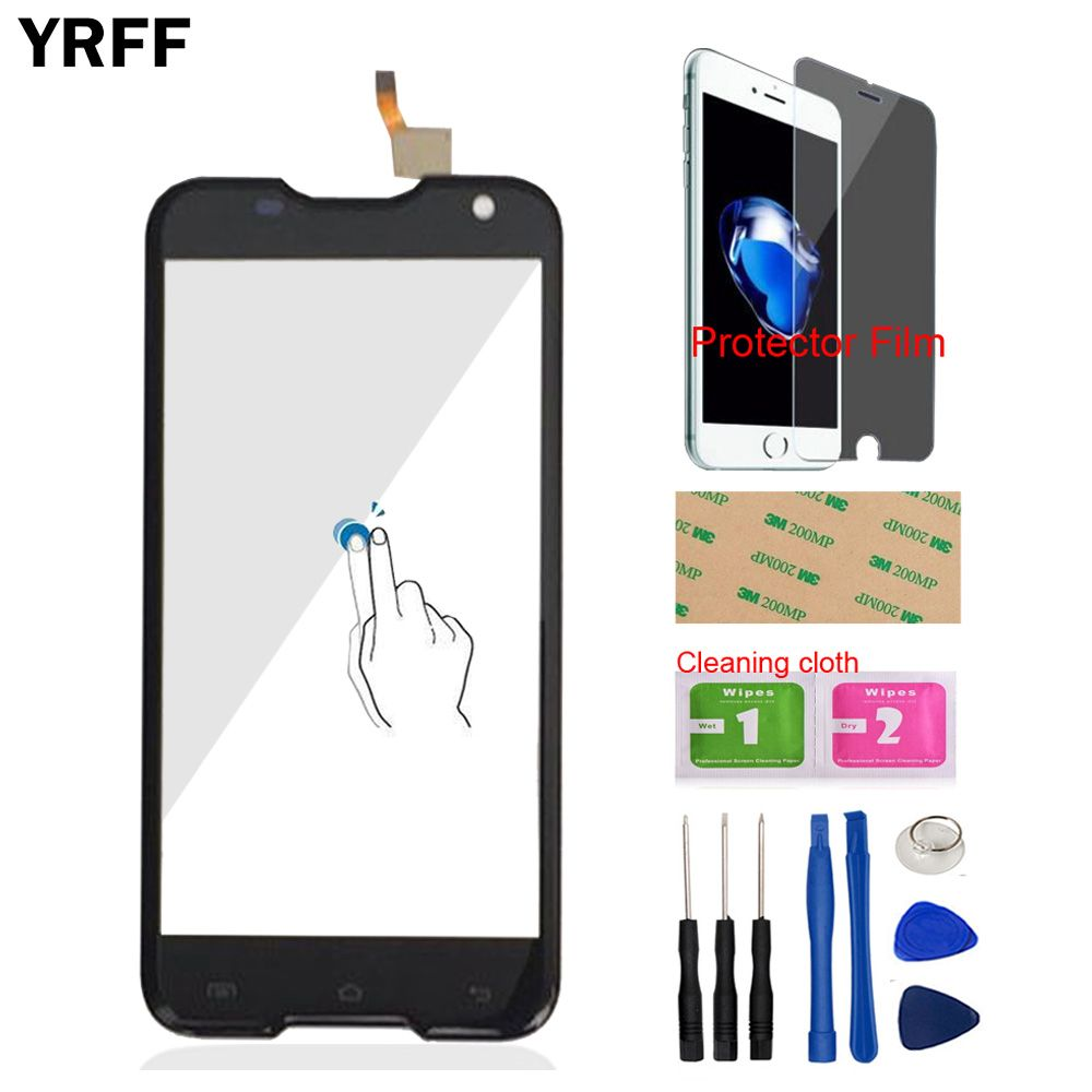5.0'' Front Glass Touch Screen Digitizer Panel Glass Lens Sensor For BlackView BV5000 BV 5000 Tools + Protector Film Adhesive