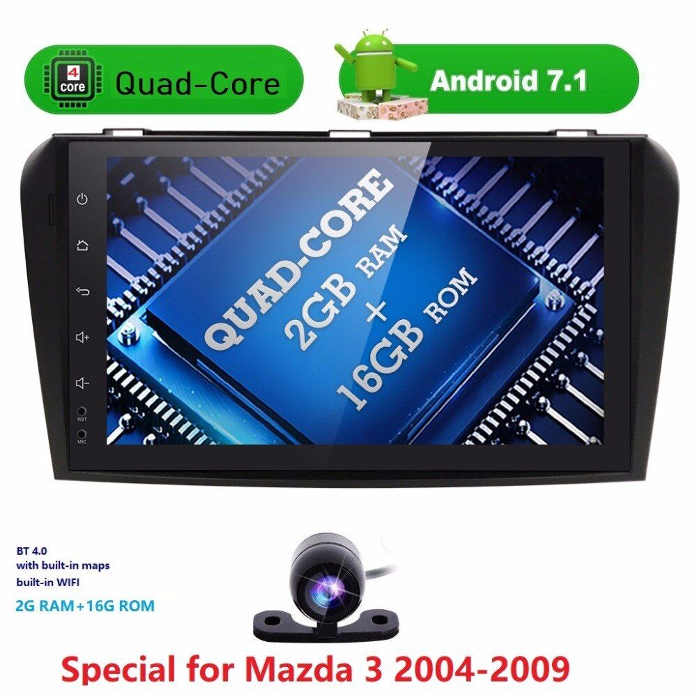 2GRAM Android7.1 Car NODVD Player with GPS System For Mazda3 Mazda 3 2004 2005 2006 2007 2008 2009 Can bus Radio USB SD free map