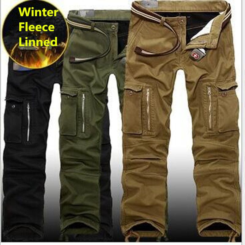 29-40 Plus size Men Cargo Pants Winter Thick <font><b>Warm</b></font> Pants Full Length Multi Pocket Casual Military Baggy Tactical Trousers