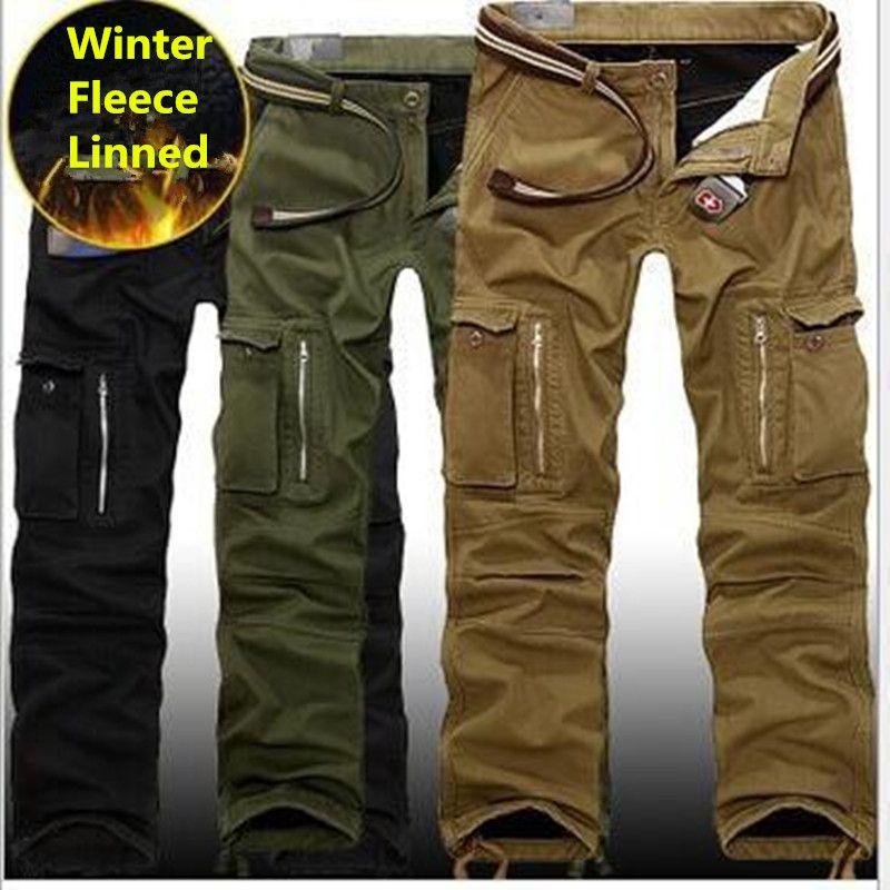 29-40 grande taille hommes Cargo pantalon hiver épais chaud pantalon pleine longueur Multi poche décontracté militaire Baggy tactique pantalon