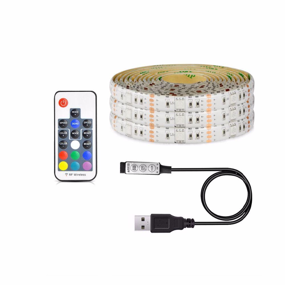 1Pcs USB Charger Supply 5050 RGB LED Strip light 5V 1M 2M 3M 4M 5M USB Cable Decor lamp String For PC LCD TV Background lighting