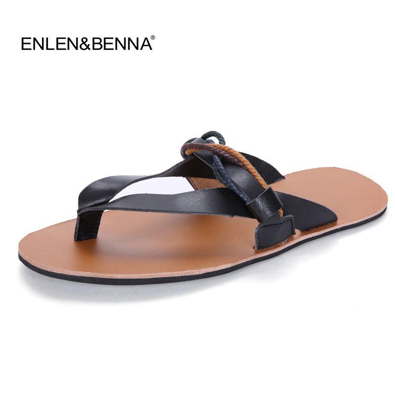 Tongs hommes sandales d'été pantoufles chaussures décontracté en cuir bord de mer plage respirant diapositives hommes marque Designer chaussures plates 2017