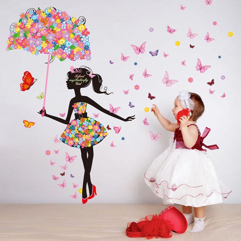 [SHIJUEHEZI] Fleur Parapluie Papillons Motif Wall Sticker pour la Chambre de la Fille Mur Art Bébé Chambre Salon Décoration