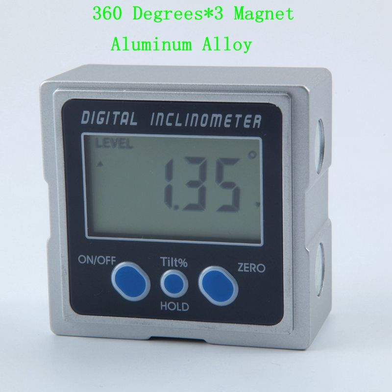 Digital Inclinometer PRO 360 Degrees Electronic Aluminum Alloy Protractor Three Magnet Base LCD Level Box Angle Gauge Meter