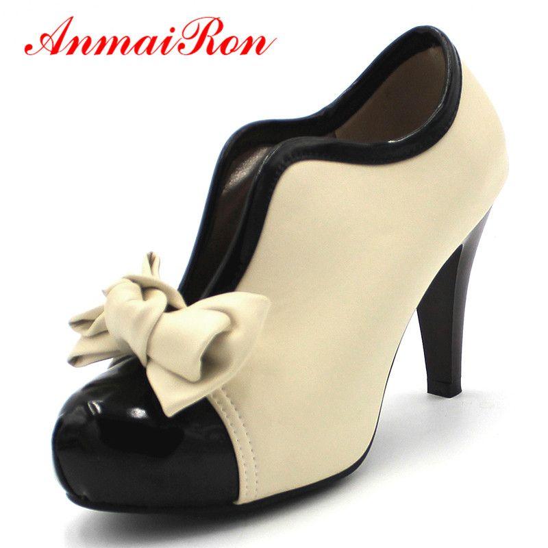 ANMAIRON nouvelle mode printemps/automne Style Bow bottines femmes bout rond talons hauts sans lacet bottes pour femmes taille 34-43