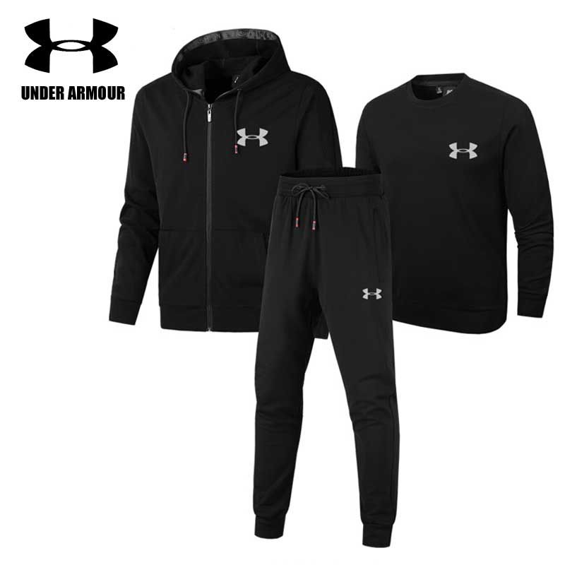 Under Armour Men Gym Clothing Outdoor comfort Sports Suits 3 pieces exercise jacket+sweatshirt+pant ropa hombre Asian size L-5XL