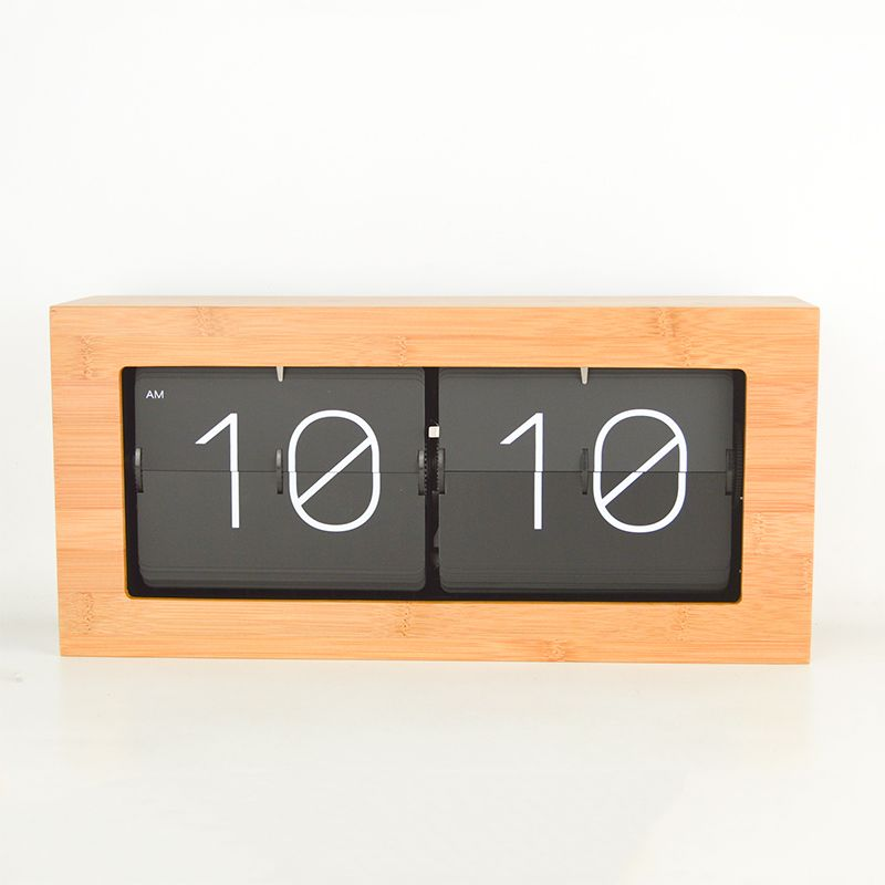 Bamboo wood silent movement variety of optional living room study bedroom office machinery quartz flip clock gift