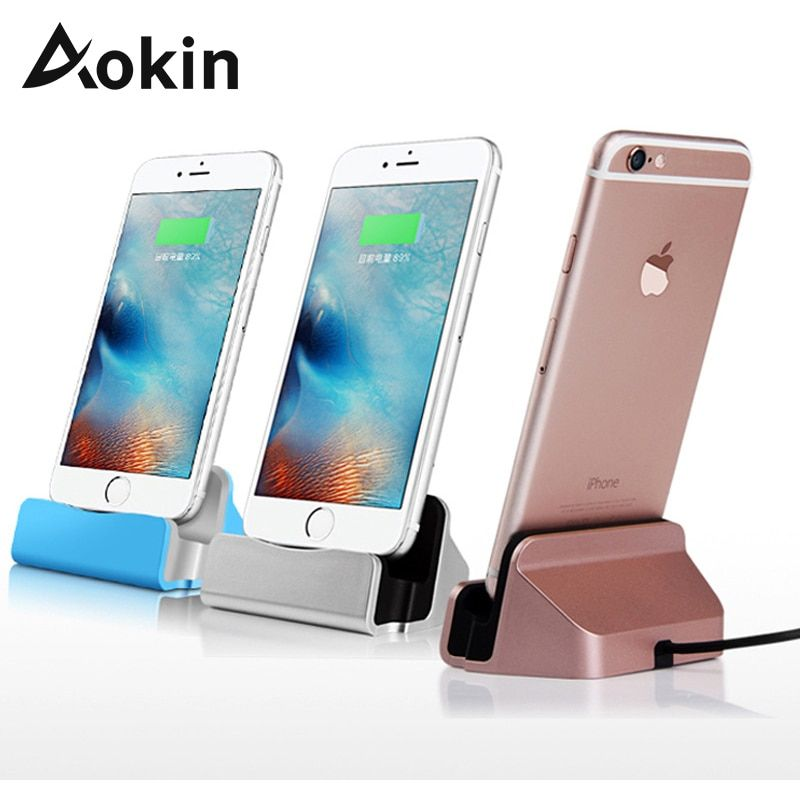 Aokin Charger Dock Stand 2 In 1 Micro USB Desktop Stand Station Cradle Fast Charging For iPhone 5 SE 6 6S For Samsung S8 Charger