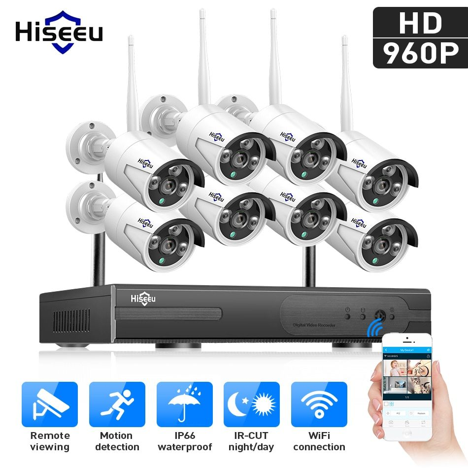 Hiseeu 8CH 960P wireless CCTV System Wifi NVR kit waterproof IP camera outdoor Home Security System video surveillance