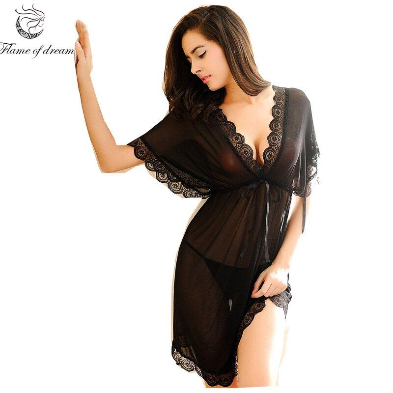 Shirt sleep nightgowns Sleepwear nightdress Women's sexy sleepwear sexy women's nightgown women sleep wear sets with g <font><b>string</b></font>